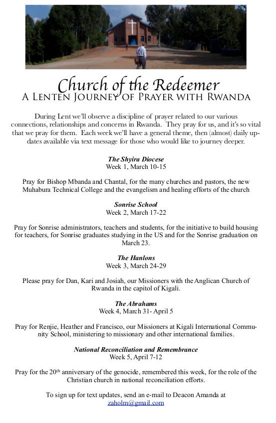 Lenten Prayer for Rwanda
